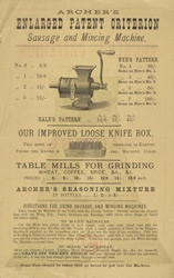 Advert For Archer's Mincing Machine reverse
